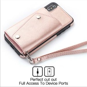 Rose Gold IPhone XS Max Wallet Case W Strap
